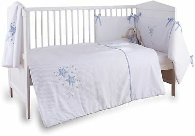 Clair de Lune 3-Piece Blue Stardust Cot/Cot Bed Quilt, Bumper and Fitted Sheet