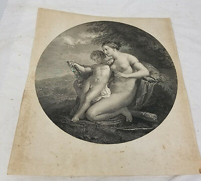 Antique Large Old Master Engraving of Mother and Child Information on Reverse