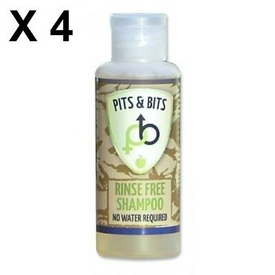4 X Pits & Bits 65ml Shampoo No Rinse Waterless Hygiene For Camping Festivals