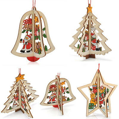 cute 3d christmas tree bell star wooden decor xmas pendant hanging decoration uk - Christmas Hanging Decorations