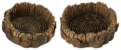 Reptile Food Water Dish Vivarium Tree Trunk Decoration Feeder In 2 Sizes