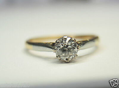 Antique Art Deco Diamond Engagement Platinum 18K Yellow Gold Rg Sz 5.75 EGL USA