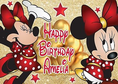 Large Kids Birthday Minnie Mouse Poster Banner Personalised Any Text Name Etc