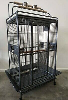 Brand New Large Bird Cage Parrot Aviary Open Roof with Top Gym Stand * ED27