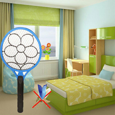 9BE9 Plum Blossom Pattern Electronic Rechargeable Mosquito Racket Swat Zapper