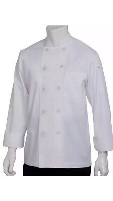 New! Chef Works White Large Head Chef Coat Jacket Long Sleeve Cook