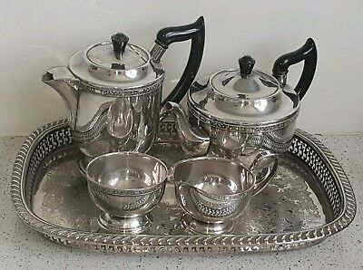 Vintage Viners of Sheffield English Silver Tea Coffee Set Gallery Tray Teapot