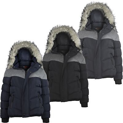 Boys Padded Contrast Insert Winter Fleece Jacket Teen Detach Hood Coat 3-14 Y