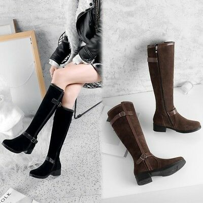 Womens Ladies Vogue Faux Suede Buckle Straps Knee High Riding Boots Shoes amgm