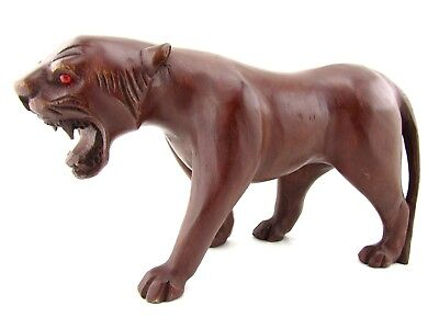 Hand Carved Wooden Cougar Statue Painted African Lion Sculpture Lioness 13""