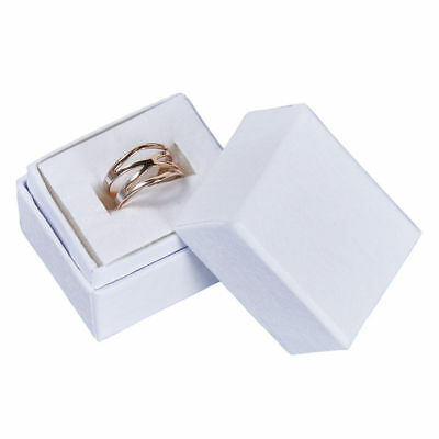 """Ring Jewelry Boxes 100 Matte White Inserts Swirl 1 ½"""" x 1 ¼"""" x 1 ½"""" Rings Lidded"""