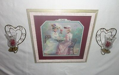 Home Interiors '' Victorian Lady Having Tea ''Picture & Metal Wall Sconces  7pc