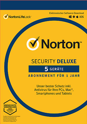 NORTON (Internet) SECURITY DELUXE (2019) 5-Gerät / 1-Jahr PC/Mac/Android / KEY