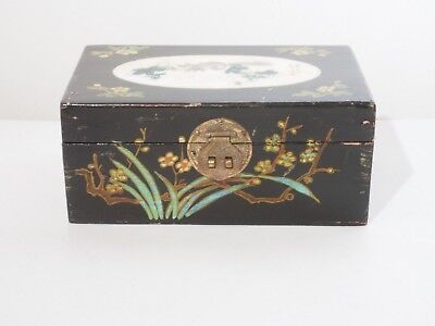 20th C Chinese Painted Lacquer Jewelry Box with Fabric Interior