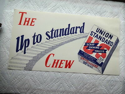 Vintage Union Standard Chewing Tobacco Display Sign Nice Old Chew Tobacco Sign