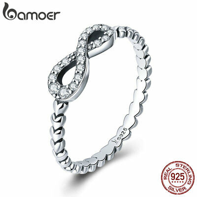 Bamoer Solid 925 Sterling Silver Ring Forever Love With CZ Women Fashion Jewelry