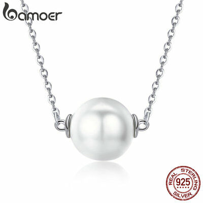BAMOER Fine S925 Sterling silver Necklace Pure Love With Pearl For Women Jewelry