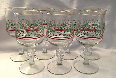 7 Vintage Arby's Christmas Holly Berry Water Wine Goblets, Bow on Stem, 1980's
