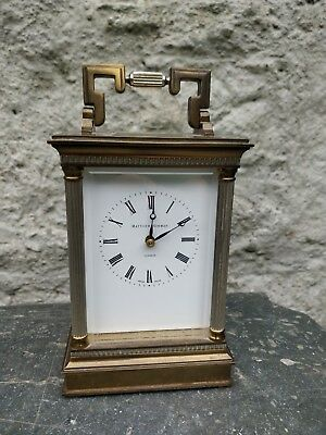 SWISS LARGE CARRIAGE CLOCK by MATTHEW NORMAN ENAMEL DIAL CORINTHIAN COLUMN