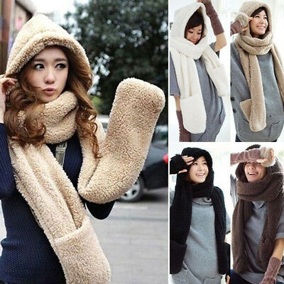 Winter 3 in1 Hood Hoodie Soft Warm Fluffy Long Hat Scarf With Pocket For Women