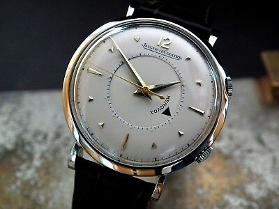 Just Beautiful 1952 Oversize Steel Jaeger le Coultre Memovox Gents Vintage Watch