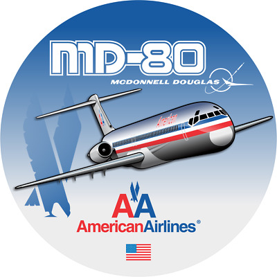 McDonnell Douglas MD-80 American Airlines aircraft round sticker