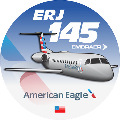 Embraer ERJ-145 American Eagle aircraft round sticker