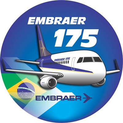 Embraer 175 aircraft round sticker