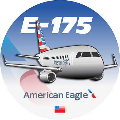 Embraer 175 American Eagle aircraft round sticker