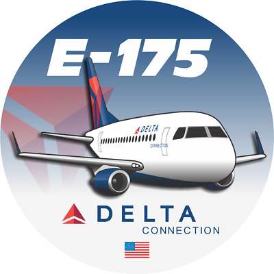 Embraer 175 Delta Connection aircraft round sticker