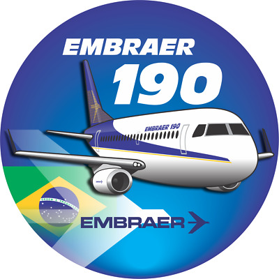 Embraer 190 aircraft round sticker