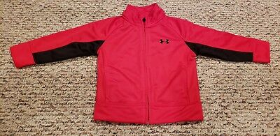 Boys Under Armour Full Zip Athletic Jacket Red Size 18 Months Euc
