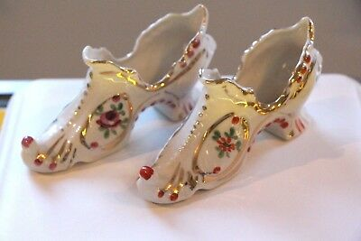 Vintage Hand Painted Pair Of Women's Shoes Floral Porcelain Figurines