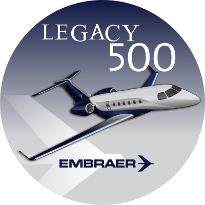 Embraer Legacy 500 aircraft round sticker