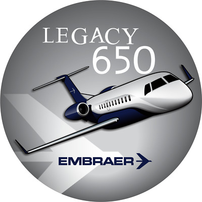 Embraer Legacy 650 aircraft round sticker