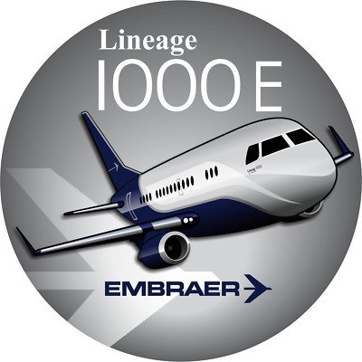 Embraer Lineage 1000 aircraft round sticker