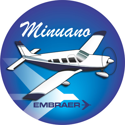 Embraer Minuano aircraft round sticker