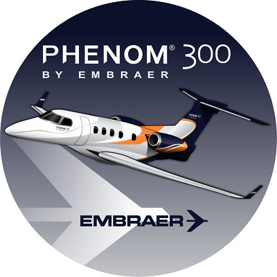 Embraer Phenom 300 aircraft round sticker