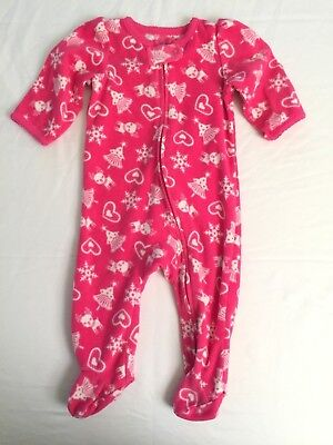 Child Of Mine Carters Baby Girls Infant 3 6 Months One Piece Pink Fleece Xmas
