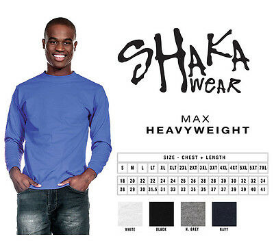 Shaka Wear Shakawear Super Max Heavy Weight Long-Sleeve Plain Blank T-Shirts Tee