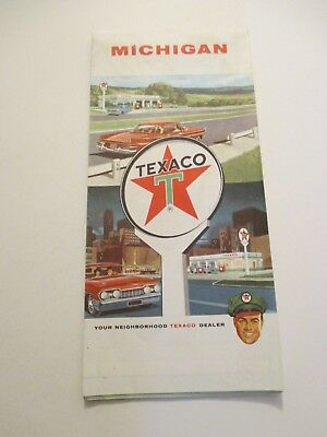 Vintage 1962 TEXACO Michigan Oil Gas Service Station Road Map