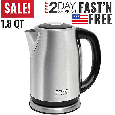 Electric Tea Kettle Hot Water Stainless Steel Cordless Pot Fast Boiler Kitchen N