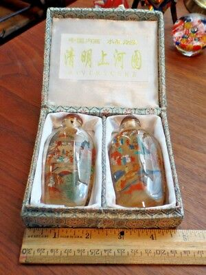 Vintage Chinese River Scene Reverse Inside Painting Snuff Bottle Set of 2 IOB
