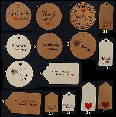 Kraft Paper Gift Tags Label Thank You With Love Christmas Wedding Birthday