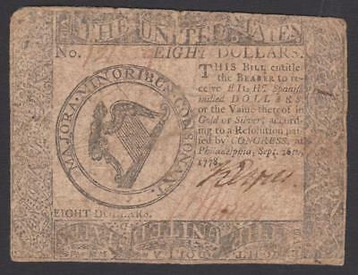 Colonial-Americana CC-81  $8.00  Sept. 26, 1778 Continental Colonial Note