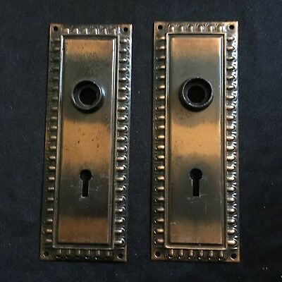 Antique Pair Of Art Deco Egg & Dart Victorian DoorKnob Backplates