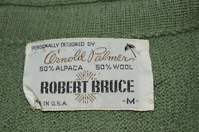 Arnold Palmer Robert Bruce Sweater VTG Mens Med Alpaca Wool Blend Cardigan Green