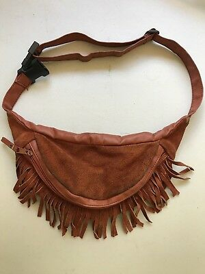 Vintage Suede Fringe Fanny Pack, Brown, Plastic Buckle, Clean Inside, AWESOME!!