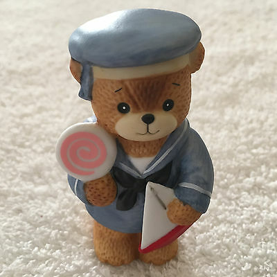 Lucy & Me Sailor Boy Bear With Sailboat & Lollipop Figurine Lucy Rigg 1984