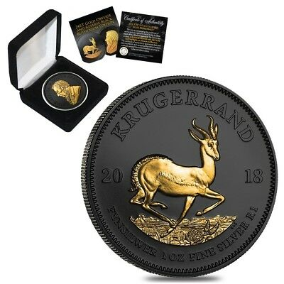 2018 South Africa 1 oz Silver Krugerrand Black Ruthenium 24K Gold Edition (w/Box